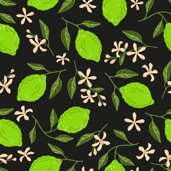 Limes, flowers and leaves on a black background. vector seamless pattern
