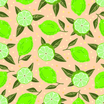 Limes and leaves on a pink background. vector seamless pattern