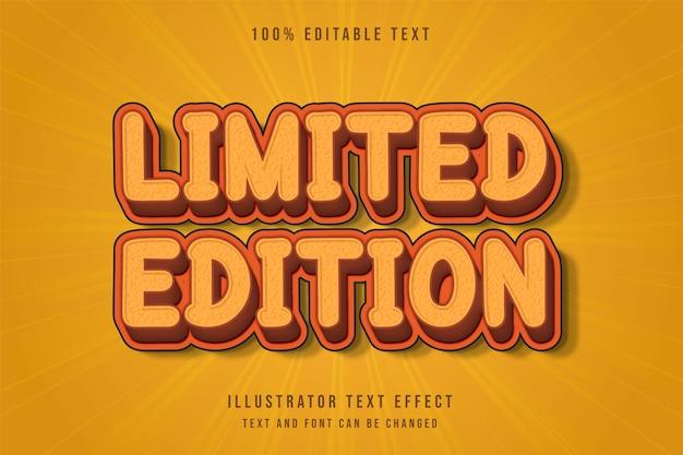 Ограниченная серия, трехмерный редактируемый текстовый эффект желто-коричневого цвета в стиле ретро комиксов