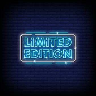 Limited edition  neon signs style text vector