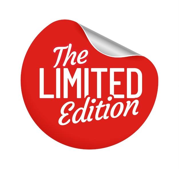 Наклейка с круглой этикеткой ограниченного выпуска. продавец предлагает к покупке бейдж самоклеящийся с загнутым уголком. красный круг для покупки продуктов, продвижение липкий элемент, изолированных векторная иллюстрация