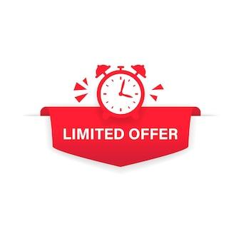 제한된 제공 버튼, 리본, 플랫 라벨. 알람 시계 카운트다운 로고. 판매 배너, 포스터, 가격입니다. 격리 된 흰색 배경에 벡터입니다. eps 10.