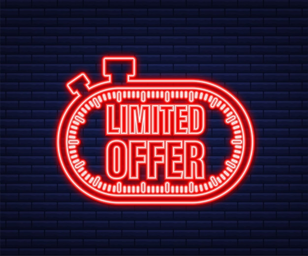 Limited offer, great design for any purposes. neon icon. best product. vector stock illustration.