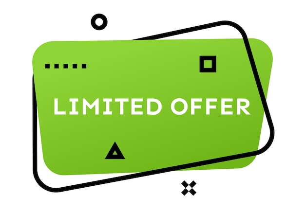 Limited offer green geometric trendy banner.  modern gradient shape with promotion text. vector illustration.