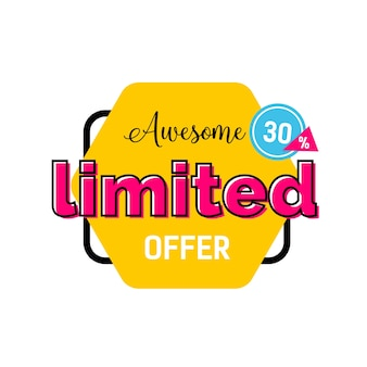 Limited offer lettering on yellow hexagon