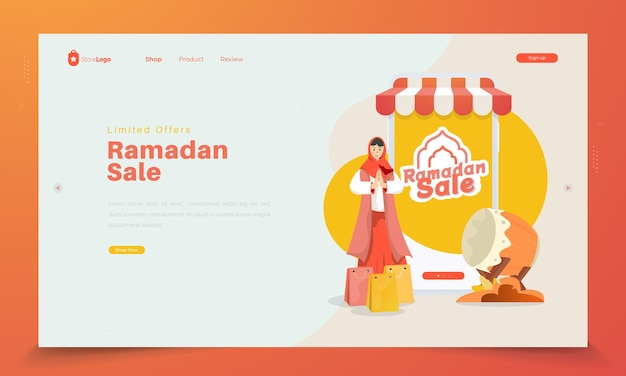 Limited offer ramadan sale on landing page concept