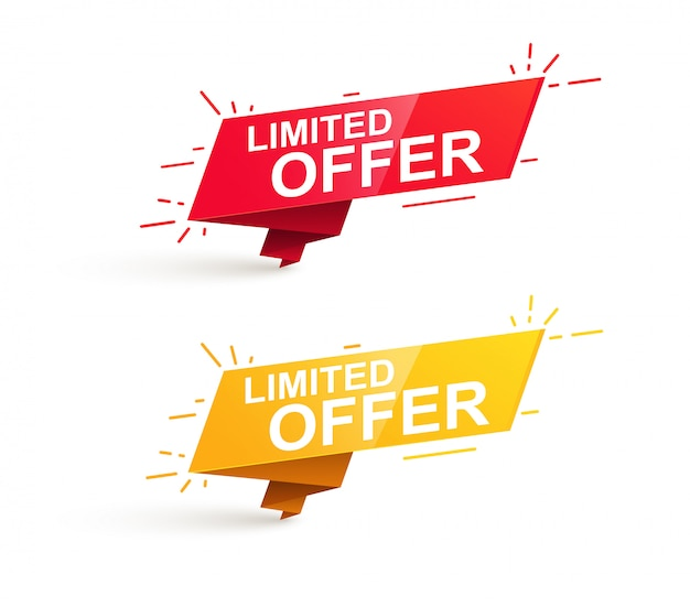 Limited offer sale promotion banner. red and yellow tags, stickers and badges.