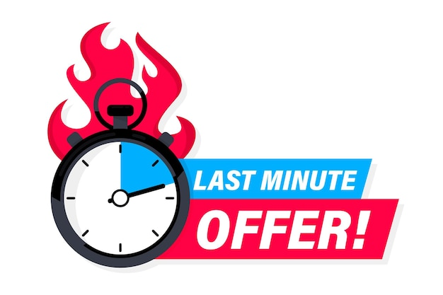 Limited offer with clock for promotion, banner, price. super promo with countdown or exclusive deal. last minute offer one day sales and timer. last minute chance auction tag