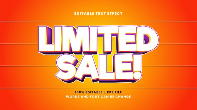 Limited sale editable text effect in modern 3d style