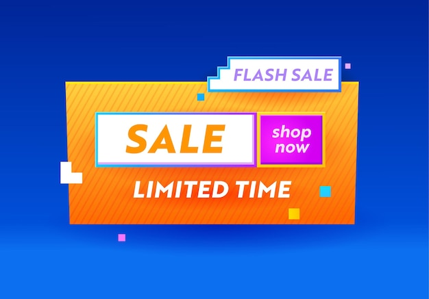 Limited time flash sale banner for digital social media marketing advertising. shop now offer, shopping, discount ad card with geometric pattern, minimal design in funky style. vector illustration