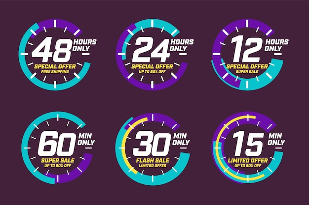 Limited time offer. free shipping, up to 50 percent limited discount super flash sale clock design, banner template