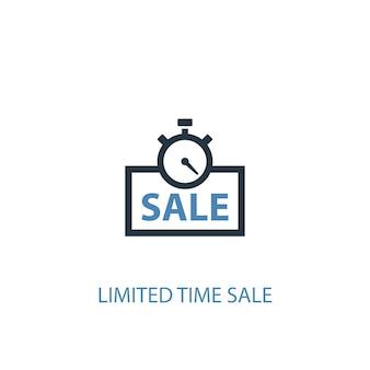 Ограниченная по времени концепция продажи 2 цветных значка. простой синий элемент иллюстрации. ограниченное время продажи концепции символ дизайн. может использоваться для веб- и мобильных ui / ux