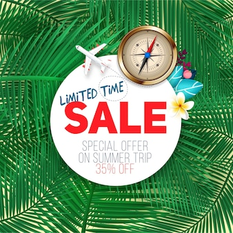 Limited time sale. summer banner on exotic palm leaf background. discount and sale template, best offer on summer travel.