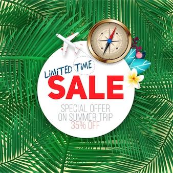 Ограниченная по времени продажа. летний баннер на фоне экзотических пальмовых листьев. скидка и шаблон распродажи, лучшее предложение на летние путешествия.