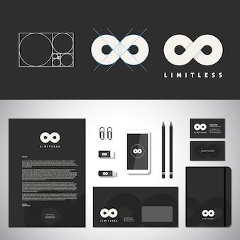 Безграничный абстрактный логотип и фирменный стиль