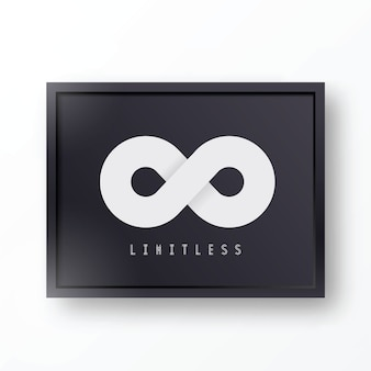 Limitless abstract symbol icon or logo in stylish black realistic frame with shadows and background
