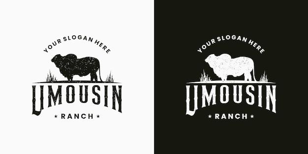 Limousin logo design badge retro for ranch and farming