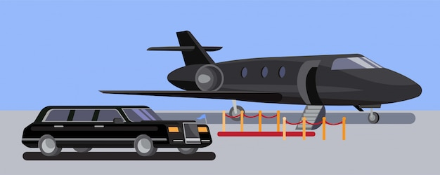 Limousine car and private jet in airport with red carpet flat design