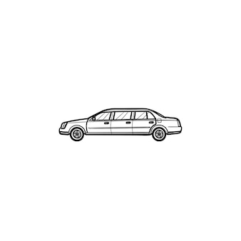 リムジン手描きのアウトライン落書きアイコン。高級車と都市、車の輸送とvip、結婚式のコンセプト