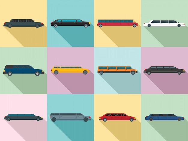 Limousine icons set, flat style