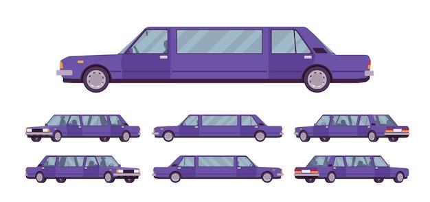Лимузин большой, роскошный набор автомобилей