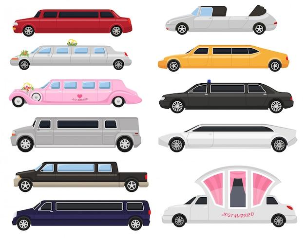 리무진 리무진 럭셔리 자동차와 흰색 배경 일러스트 레이 션에 고립 된 자동차 citycar 교통의 레트로 자동 운송 및 차량 자동차 그림 세트