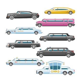 Лимузин вектор лимузин роскошный автомобиль и ретро авто транспорт и автомобиль автомобильная иллюстрация набор автомобильных перевозок изолированных городской автомобиль на белом фоне иллюстрации