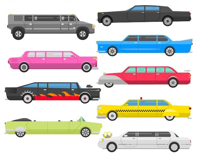 Лимузин векторный набор.