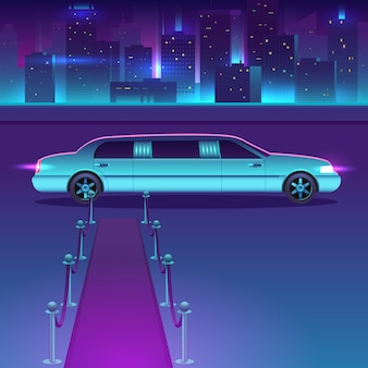 Limousine with a red carpet at night vector in front of city urban landscape, luxury metropolis.