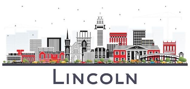 Линкольн небраска-сити с цветными зданиями, изолированные на белом. городской пейзаж линкольна сша с достопримечательностями.