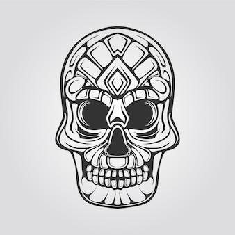 Line of abstrack decorative skull