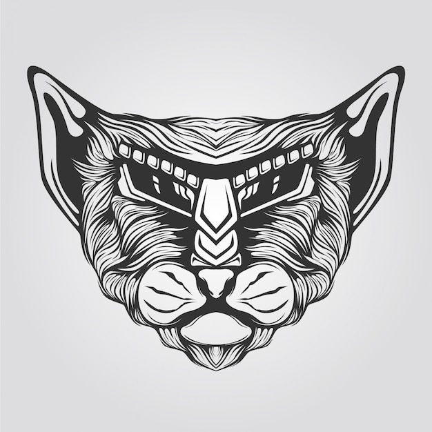 Line abstract cat for t-shirt illustration