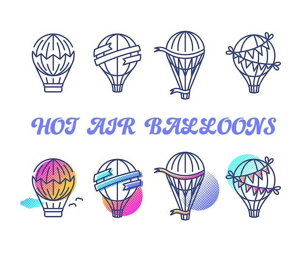 뜨거운 공기 풍선, 복고풍 및 휴가 모노 라인 및 여러 가지 빛깔의 하프 톤 디자인 요소의 선 및 색상 세트.