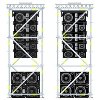 Line array concert acoustics scaffold suspension illustration