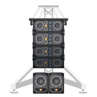 Line array concert acoustics on truss suspension illustration
