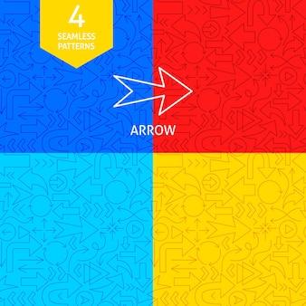 Line arrow patterns. vector illustration of outline background.