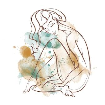 線画。美少女が一本の線で描かれています。水彩画の背景に。フィットネス。ベクター。