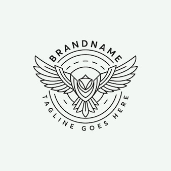 Line art abstrack phoenix logo design template