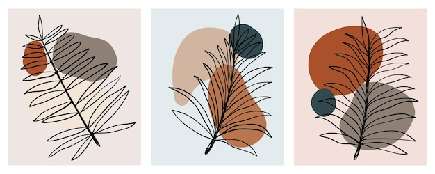 ラインアート抽象的な熱帯の葉フレーム