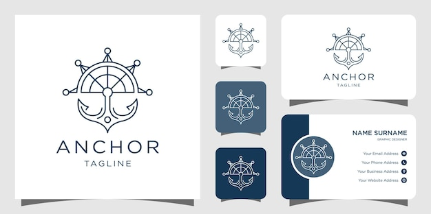 Line art anchor logo design template with business cards