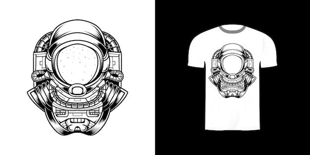 Штрих-арт космонавт для дизайна футболки
