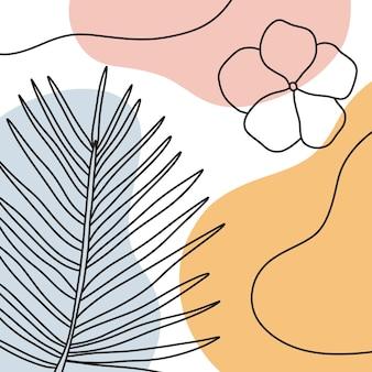 라인 아트 매력적인 색상 꽃 모양으로 그리기. 미니멀하고 자연스러운 벽 예술.