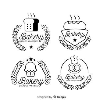 ラインアートベーカリーのロゴのテンプレート