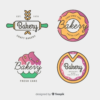 Line art bakery logos template set