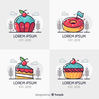 Line art bakery logos