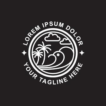 Дизайн логотипа line art beach