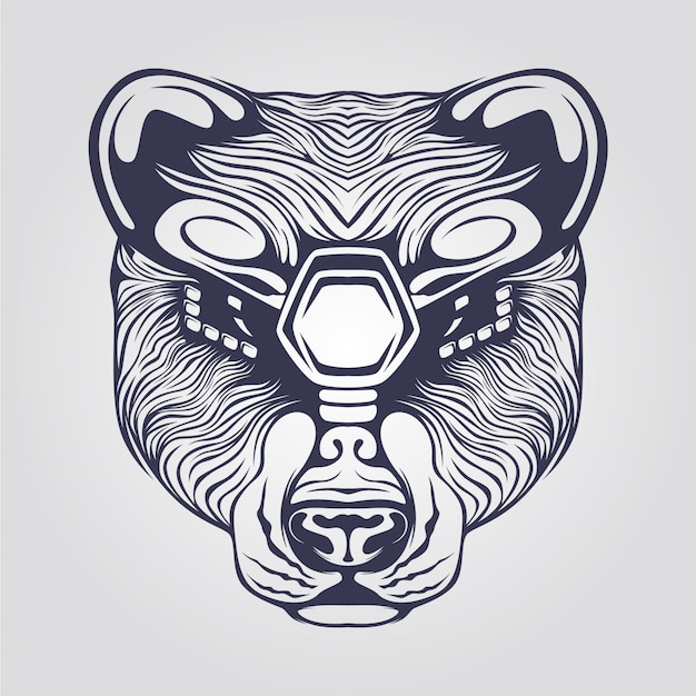 Line art of bear in with decorative eyes