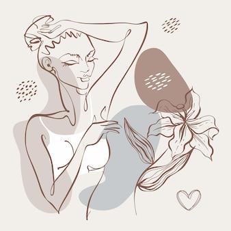 線画。美容ボディ。美少女が一本の線で描かれています。美容ロゴ。ビューティーサロン。ベクター。