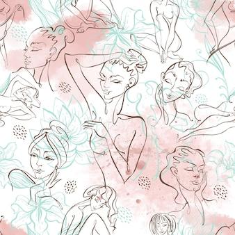 線画。美容ボディ。水彩画の背景に美しい女の子とのシームレスなパターン。ベクター。