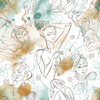 Line art. beauty body. seamless pattern with beautiful girls on a watercolor background . vector